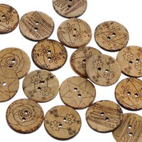Wholesale Shell Cardigan - Kimter Brown Coconut Shell Wooden Sewing Buttons With 2 Holes 25mm For Collections Knitted Caps Cardigans DIY Crafting Pack Of 30pcs I705L