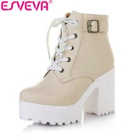 Wholesale Lace Up Punk High Platform - Wholesale-ESVEVA 3 Color Winter Lace-Up Sexy Women Boots Fashion Platform punk high square heels Black Buckle Ankle boots Plus Size 34-43
