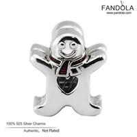 Wholesale Gingerbread Man Charm - Wholesale- Christmas Gift 925 Sterling-Silver-Jewelry Sweet Gingerbread Man Charm Beads for Jewelry Making Fits European Charms Bracelet
