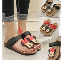 Wholesale Cartoon Slippers Women - New 2015 Summer Flats Fashion Flip Flops Shoes Cartoon type fashion Mickey Mouse cork slippers sandals for women