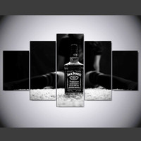 "Wholesale Interior Wall Paintings Pictures - LARGE 60""x32"" 5Panels Art Canvas Print Jack Daniels Art Poster Wall Home Decor interior (No Frame)"