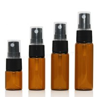 Wholesale Wholesale Spray Caps - 500pcs lot 5ml 10ml 15ml 20ml Glass pump Spray Bottles Amber Perfume Atomizer With Black Cap Portable Cosmetics bottles Wholesale For Travel