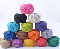 Wholesale Twine Rope Wholesale - New 1Roll 50M Natural Burlap Hessian Jute Twine Cord Hemp Rope String 2mm Rustic Wrap Gift Packing String Wedding Decoration