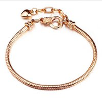 Wholesale rose gold lobster clasp charms for sale - Group buy 10pcs Fashion Copper Rose Gold Snake Chain Lobster Clasps Bracelet Fit European Charms beads DIY Jewllery Making cm cm