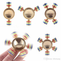 Wholesale stress relieving metal online - COOLESTSTARTR ainbow Fidget Spinner Hand Spinner Brass Metal For Autism Adult Anti Relieve Stress Perfect Stress Reducer And Killing Time