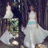 Wholesale Colorful Feather Dress - Limor Rosen 2017 Country Bohemian Lace Wedding Dresses High Neck Backless Elegant Outdoor Boho Garden Bridal Wedding Gown Cheap