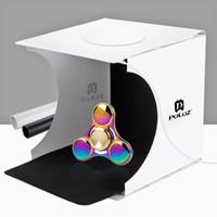 "Wholesale Mini Photo Led Light - PULUZ 20*20cm 8"" Mini Folding Studio Diffuse Soft Box With LED Light Black White Background Photo Studio Accessories Light box"