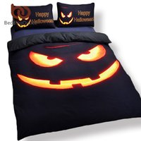 Atacado-BeddingOutlet Brand New Pumpkin Party Comforters Black Halloween Bedding Set Vivid 3D Print Sheet Set 3pcs ou 4pcs