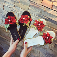 Talons Sexy Mignons Pas Cher-2017 New Summer Beach Slippers Sexy Flat Heels Luxury Rose Sandals Ladies Comfort Flip Flops et mignons Chaussures de plein air Femme