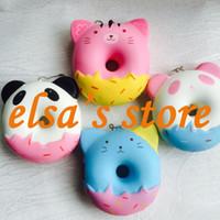 Wholesale Cat Toys Free Shipping - squishy wholesale 20pcs rare kawaii squishy jumpo cute anime panda cat donut straps squishy toys soft kids gift Free Shipping