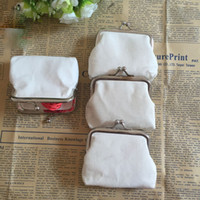 Wholesale Card Bag Diy - DIY white pure canvas wallet girls small coin purse blank plain craft gift clutch organizer bags travel cases handmade children kids pouches