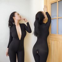 Wholesale Hot Lingerie Dance - Stretchable Hot New Style Lady Sexy Black Seamless Bodycon Vertical Stripes Bodysuit Fetish Club Pole Dance Lingerie Open Crotch Jumpsuit