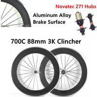 Wholesale Novatec Hubs Price - Aluminum Alloy Brake Surface 700C 88mm 3K Clincher Carbon Bike Wheelset Matte Bicycle Wheels Factory Price With Novatec 271 Hubs