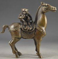 China Vintage Brass Handwork Hammered The Monkey Riding Horse Lucky Statue # 34