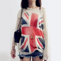 Wholesale Uk Flag Sweaters - Wholesale-Fashion~ Women's Distressed British UK flag Print Ripped Hole Knit Sweaters Oversized Knitwear Jumper Tops knitted Pullover