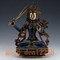 Wholesale Antique Tibetan Buddhist - Collection Folk Art Chinese Cloisonne Brass Handwork Carved Tibetan Buddhist Statue - Manjusri Bodhisattva