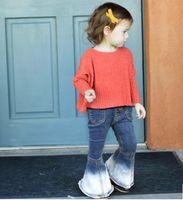 Wholesale Tight Jeans Baby - 2017 new Fashion 5pcs lot New 2017 Fashion kids Children Jeans girls Trousers Baby Girls Flare pants children pantyhose tights long pants