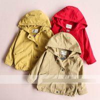 Wholesale Girls Dust Coat - Kids outwear fashion girls hooded zipper Dust coat 2017 new children autunm leisure clothing girls princess jacket outwear T4076
