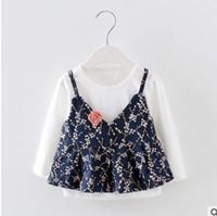 Wholesale Tank Tops Long Set - Baby girls outfits Infants floral printed Appliqued suspender vest tank tops+long sleeve shirt 2pcs sets fashion children clothing G0429
