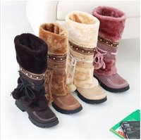 Wholesale Long Sexy High Heel Boots - Wholesale-Russia Winter Warm Thickened Fur Over Knee High Heel Boots Women Shoes Fashion Sexy Botas Long Woman Footwear AH053 size 35-40