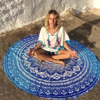 grande tapisserie achat en gros de-160cm Grande serviette de plage ronde fleur de lotus bleu serviette de bain de natation Serviette de pivoine bleu Serviette de mandala indienne tenture murale serviette
