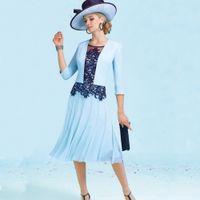 Wholesale Types Modern Dress Sleeves - Euro Type Woman Evening Dress Navy Blue Tea Length Formal Mother of the Bride Dress Vestidos de Festa Satin Jacket 3 4 Sleeves