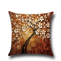 Wholesale purple flowering trees resale online - Three dimensional oil painting trees flower cushion pillow cover car waist cushion cover
