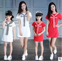 Wholesale Navy Stripe Dresses Girl - Mother and dauther clothes big girls stripe lace-up collar princess dress women letter printed A-line dress navy style family clothing T3919
