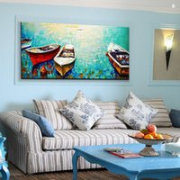 Wholesale Entranceway Oil Paintings - Pure Hand-painted Modern Abstract Art oil painting Boating entranceway,Home Wall Decor On High Quality Canvas size can be customized