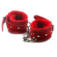 Wholesale Handcuffs Pu - Free shipping pink plush Soft PU Leather cuffs Restraints Bondage sex slave handcuffs Erotic sex toys for couples slave games