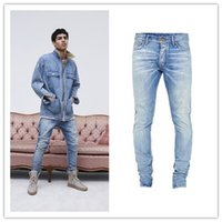 pantalones azules moda hombre al por mayor-Pantalones vaqueros High Street Fashion Jeans 2018 Stage Rockstar Denim Moto 29-36 FOG Azul Kanye West FEAR OF GOD Skinny Jeans