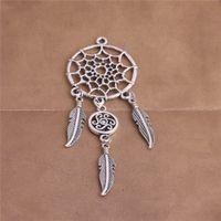 Wholesale Heart Dreams - 5 pcs lot Metal Antique Silver Bronze Feather Dream Catcher Heart Shape Pendant Jewelry Making Diy C0308