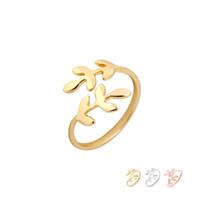 pirinç halka plaka toptan satış-Moda Yüzükler Ayarlanabilir Yaprak Şube Yüzük Gümüş Altın Gül Altın Kaplama Pirinç Takı Kadınlar Kız Renk Karıştırabilir EFR073