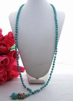 "Wholesale Pyrite Chain - Beautiful! 25"" Turquoise&Pyrite Necklace"