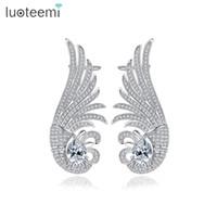 Wholesale brass jewelry earrings clip - LUOTEEMI New Luxurious Ear Cuff White Gold Color Clip on Earrings Earclips for Women Girls Fashion Shining CZ Jewelry Gift