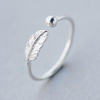 Wholesale Birds Rings - 5pcs lot Real. 925 Sterling Silver Leaf  Bird Feather Ring Adjustable Sterling Silver Ring Charm Jewelry Anillo de plata