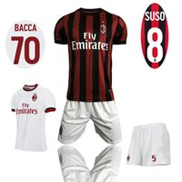Wholesale Home Casual - New AC Milan home soccer uniform ac away white thai quality football kits men's outdoor casual sets short sleeve sports jerseys and shorts