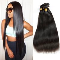 Wholesale Remy Bulk Hair Extensions - Indian Remy Human Hair Bulk No Weft Straight Bulk Braiding Hair Extensions Unprocessed Human Hair 3pcs Lot Natural Color