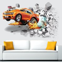 Wholesale 3D football wall stickers creative car wall paper for children s room home bedroom decration home decra wall design