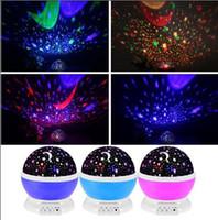 lampes de projecteur de lune achat en gros de-2020 cadeaux romantique Led nuit Gyrophare Starry Sky Étoile Lune rotation éclairage de nuit lampe projecteur enfants interphones pour bébé Lights Sleeping