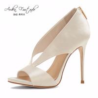 Wholesale Satin White Dress Sandals - 2017 summer shoes high heels sexy sandals back zipper plus size 12cm open toe beige Stiletto cover heel cutout satin dress shoes