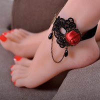 Wholesale Lace Foot Jewelry - Rose Flower Lace Anklets Handmade Gothic Retro Black Lace Chain Anklets Party Ankle Bracelet Foot Jewelry Free Shipping