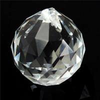 Wholesale Crystal Prisms Glass Wholesale - Wholesale-1PC 40mm Clear Crystal Glass Lamp Prisms Part Decoration Hanging Drop Pendant