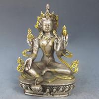 Wholesale Buddha Brass Statue - 14.5 cm * Chinese Silver Bronze Gilt Tibetan Buddhism Statue --Green Tara Buddha