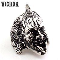 Wholesale Long Punk Rings - 316 L Stainless Steel ring Long Tougue Skull Rings 2017 new Fashion Punk Men's Free shipping men's rings cheap men rings VICHOK
