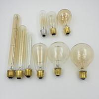 Wholesale T45 Antique Light Bulb - Wholesale- 40W Vintage Antique Retro Style Lighting Tungsten Filament Edison Lamp Light Bulb E27 220V T10 T30 T45 T185 T225 G80 A19 DIY