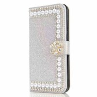 Pour LG K7 K10 V10 V20 G5 G4 G3 X Power Tribute HD LS676 Shinny Glitter Leather Wallet Case Pouch Pearl Phone Cover