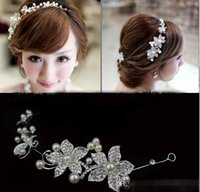 Wholesale Headpiece Jewelry Chain - High Quality Bride Jewelry Silver Red Crystal Flower Bride Headdress Soft Chain Wedding Hair Ornaments Decorated Headpieces