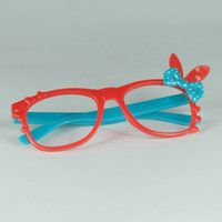 Wholesale Eyeglass Frames Bow - Wholesale- Adorable Children Rabbit Glasses Embellish Loves And Bow Tie Frame No Lens Child Eyeglasses