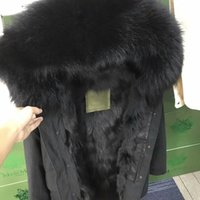 Wholesale Italy Canvas - Black fur trim Mr & Mrs Italy black fox fur lining black Parka Mr Mrs furs Military canvas long jackets